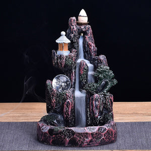 Artificial LED Backflow Resin Artificial Mountain Smoke Waterfall Backflow Incense Burner Censer Holder Natural Incense Cone