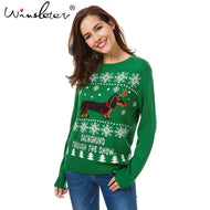 Cute Dachshund Embroidery Snow Letter Women Pullovers sweatshirt