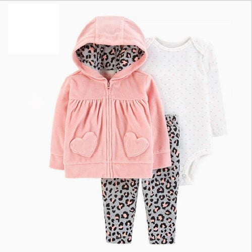 BABY GIRL CLOTHES long sleeve hooded coat+bodysuit cotton+pants newborn boy set winter fall infant clothing new born outfit - ShopeeShipee