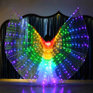 Rainbow Color Alas Angle Led Wings Adult Led Costume Circus Led Light Luminous Costumes Party Show Isis Wings Dancewear - ShopeeShipee