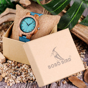 BOBO BIRD C28 Casual Bamboo Wood Watch For Men And Women Turquoise Blue Quartz Analog Watch With Gift Box