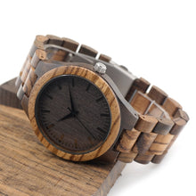 BOBO BIRD D30 Round Vintage Zebra Wood Case Men Watch With Ebony Bamboo Wood Face With Zebra Bamboo Wood Strap Japanese movement - ShopeeShipee