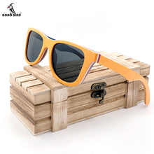 BOBO BIRD Men Wood Sunglasses Women Retro Vintage Polarized Skateboard Wooden Glasses Oculos De Sol Big Square With Wood box