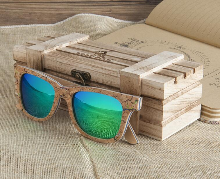 BOBO BIRD Unisex Square Bamboo Wood Sunglasses Men Women Oversized Mirror Coating Sun Glasses UV400 For Gift