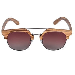 BOBO BIRD Zebrawood Wood Sun Glasses Women Polarized Retro Vintage Glasses UV400 occhiali sole rotondi