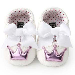 Baby Girl PU Leather Shoes Kid Moccasins First Walkers Crown Bow Soft Soled Non-slip Footwear Crib Shoes