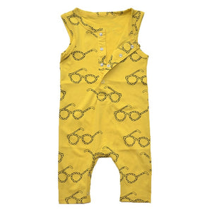Baby Rompers Tiny Cottons Newborn Boys Romper Girls Clothes Glasses Print Summer Clothing 2018 Sleeveless Jumpsuit Bobo Choose
