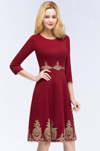 Babyonline New Arrival Burgundy Short Lace Evening Dress 2018 Homecoming Dresses with Sleeve Robe de Soiree Courte - ShopeeShipee