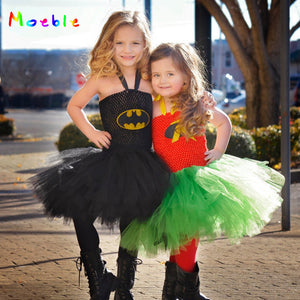 Batman and Robin Kids Party Dresses Tulle Dress for Girl Tutu Dress Baby Clothes Halloween Christmas Children Cosplay Costume - ShopeeShipee