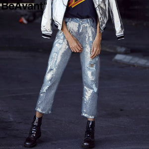 Spring sequin ripped jeans women Streetwear hole zipper fringe jeans pants Summer casual loose denim trousers femme - ShopeeShipee
