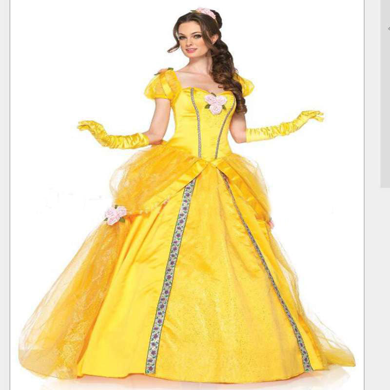 beauty and the beast bell yellow long dress halloween costume belle princess dress masquerade carnival adult