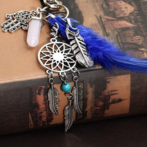 Boho Dream Catcher Opal Stone Tassel Feathers Palm Pendant Keyring Keychain - ShopeeShipee