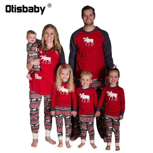 Boutique Father Mother Kids Baby Pajamas Christmas Long Sleeve Sleepwear Matching Family Outfits Cotton Red Pajama for Family - ShopeeShipee