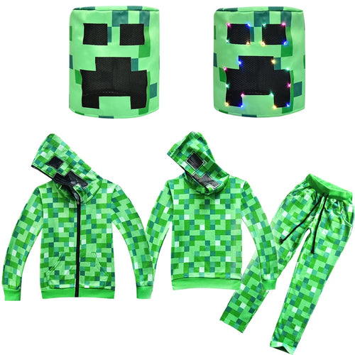 Boys Cosplay Costume Kids Long Sleeves Hooded Jackets Pants Green Creeper Game Anime Role Play Casual Sets LED Mask Halloween - ShopeeShipee