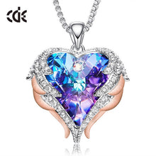CDE Women Silver Color Necklace Embellished with crystals from Swarovski Necklace Angel Wings Heart Pendant Valentines Gift