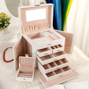 Portable Jewelry Box Organizer Ring Stud Earrings Jewelry Storage Box With Mirror Faux Leather Box