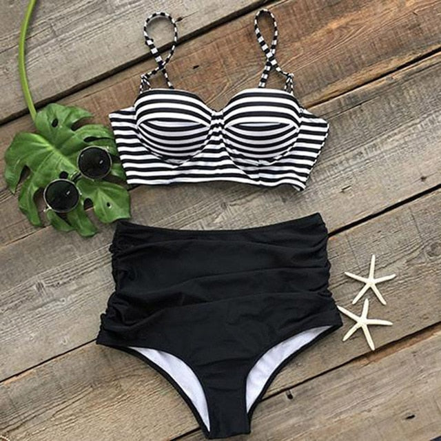CUPSHE All About U Stripe High-waisted Bikini Set Women Push Up Two Pieces Swimwear New Beach Bathing Suit Swimsuits