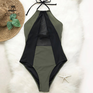 CUPSHE Army Green And Black Mesh Halter One-piece Swimsuit Women Patchwork Backless Monokini 2019 Girl Bathing Suit Swimwear