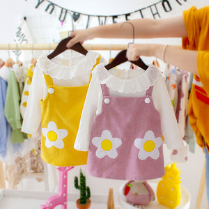 Newborn Daliy Dress For Girl Infant Strap Dress White Ruffle Collar Tops Two-piece Long Sleeve Dresses Baby Girl Dress - ShopeeShipee