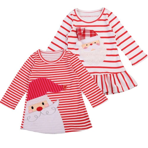 Canis Girls Christmas Dress Clothes Striped Santa Print Party Tutu Dresses Xmas Size 2-7T - ShopeeShipee