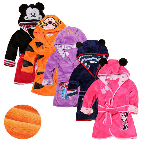 Cartoon Children's Robe Flannel Baby Bathrobe Long Sleeve Hooded Kids Bath Robe Lovely Animal Child Boy Girls Robes Kids Clothes - ShopeeShipee
