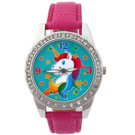 Cartoons Cat Animal Unicorn Ladies Women's Watch Analog Quartz Crystal Diamonds Leather Lady Student Wristwatch Xmas Gifts U85E
