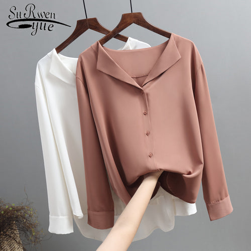 Casual Solid Female Shirts Outwear Tops 2019 Autumn New Women Chiffon Blouse Office Lady V-neck Button Loose Clothing - ShopeeShipee