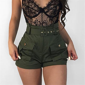 Casual Women A-line Short Pants New 2018 High Waistband Summer Green Shorts Pants Stylish Ladies Loose Beach Belt Short Trousers