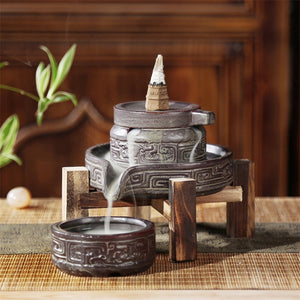 Ceramic Retro Ceramic Backflow Incense Burner Waterfall Censer Incense Holder Aromatherapy Furnace Home Decoration + 10pcs Cones