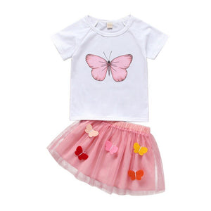 Children Girls Casual Summer Butterfly Print Short Sleeve T-shirt+Mini Mesh Skirt Suits 2Pcs Costume Set - ShopeeShipee