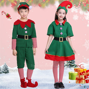 Christmas Cosplay Costumes for Kids Girls Elf Grinch Dress New Year Xmas Party Green Santa claus Performance Clothing with Hat - ShopeeShipee