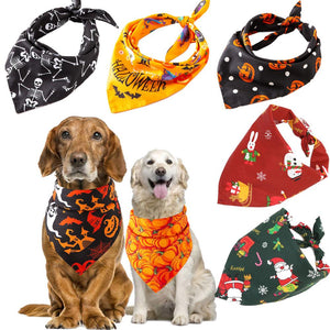 Christmas Pet Dog Bandana Small Large Dog Bibs Towel Scarf Halloween Pumpkin Printing Puppy Pet Grooming Costume Accessories - ShopeeShipee