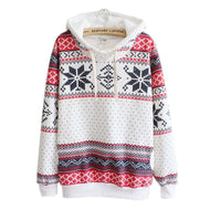 Hooded Autumn Winter Pattern Patchwork Sweater