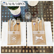 Christmas Table Placemat Knife Fork Tableware Cushion Pad Dinnerware Mat Coffee Coasters Xmas Home Decor Ornament 1/2/4/6/10PCS