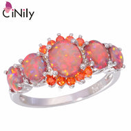 CiNily Orange Fire Opal Orange Garnet Silver Plated for Wholesale Wedding Party Gift for Women Jewelry Ring Size 5-12 R4576