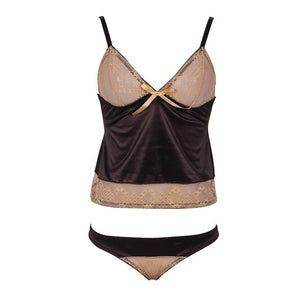 Comeondear Porno Babydoll Sexy Mesh Womens Lingerie With Low Waist Panty M XL 3XL 5XL Brown Soft Stain Erotic Dress RA80350