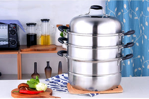 Cooking Steamer SS# 304 stainless steel Food Boil thickened Kitchen ware 3-layer Steamer Cooking Casserole Pot