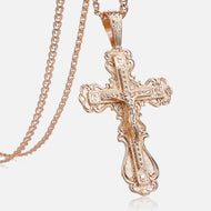 Crucifix Cross Pendant Necklace For Women Men 585 Rose Gold Snail Link Chain Cross Necklace Fashion Wholesale Jewelry