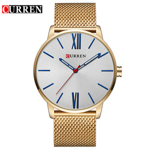 Curren Mens Watches Top Brand Luxury Gold Quartz Men Watch Waterproof Mesh Strap Casual Sport Male Clock Watch Relogio Masculino