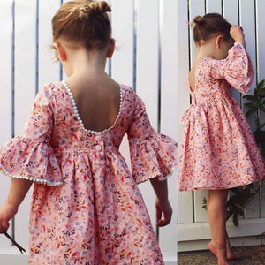 Cute Toddler Kid Baby Girl Long Sleeve Floral Party Princess Boho Pageant Dress