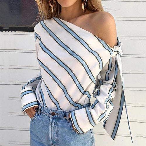 Summer Women Striped Loose Blouse Fashion Lady Off Shoulder Lace Up Shirts Female Elegant Tops - ShopeeShipee