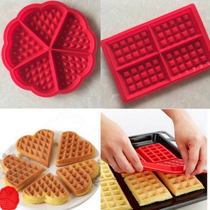 DIY Silicone Waffle Mold Maker Pan Microwave Baking Cookie Cake Muffin Bakeware Cooking Tools Kitchen Accessories Supplies - ShopeeShipee