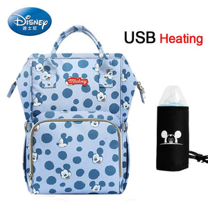 Disney USB Heating Diaper Bag Maternity Nappy Backpack Large Capacity Nursing Travel Backpack Heat Preservation