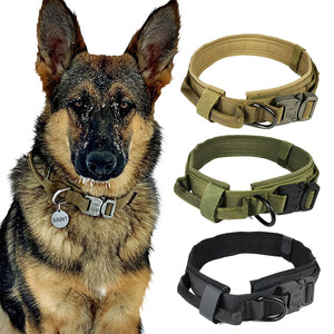 Dog Collar Nylon Adjustable Military Tactical Dog Collars Control Handle Training Pet Cat Dog Collar Pet Products - ShopeeShipee
