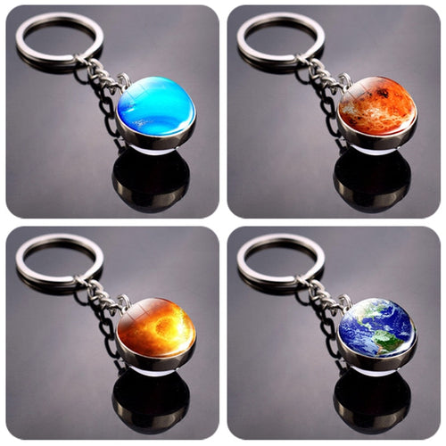 Double Side Universe Space Galaxy Mercury Mars Earth Glass Ball Keychains 3D Solar System Jupiter Venus Planets Keyrings - ShopeeShipee