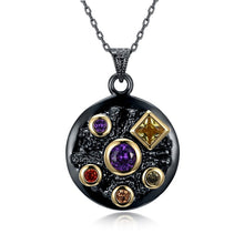 DreamCarnival 1989 Neo Gothic Round Pendant Necklace for Women Party Jewelry 5 Colorful Bling Zircon Long Chain Simple Elegant