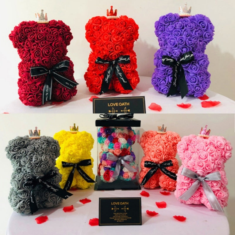 Women Teddy Bear  Rose Flower Artificial Decoration For Valentine/'s Day Gift NEW