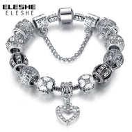 ELESHE Fashion Silver Color Heart Charms Bracelet Bangle for Women DIY 925 Crystal Beads Fit Original Bracelets Women Jewelry