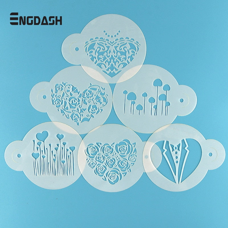 ENGDASH 6pcs/Lot Spray Mold Coffee Sugar Powder Sieve Cake Moulds Transfer Mould Cake Decorate Baking Tool Kitchen Accessory