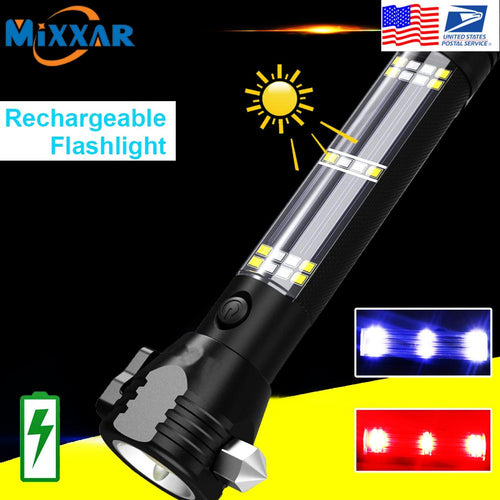 EZK20 LED Flashlight Solar USB Rechargeable Tactical Multi-function Torch Car Emergency Tool Compass - ShopeeShipee